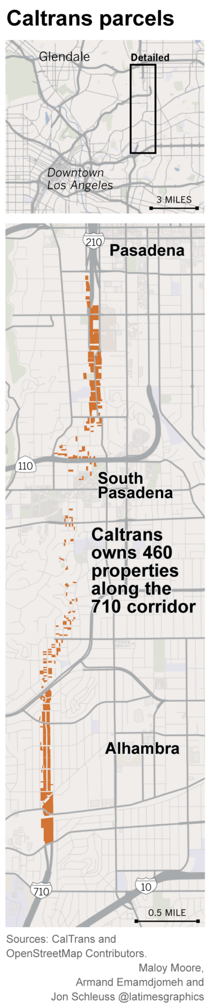 Map of properties and parcels owned by Caltrans near the 710 freeway.