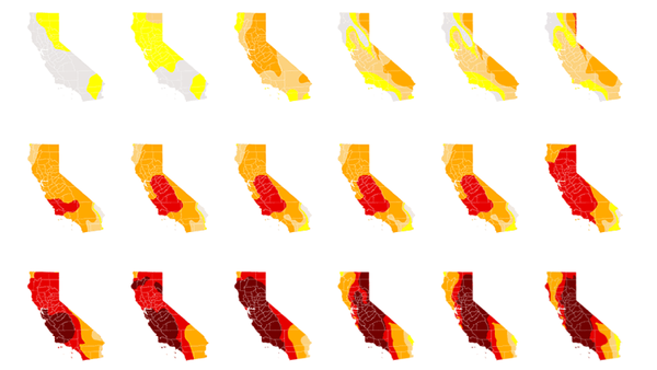 221 drought maps show just how thirsty California has become