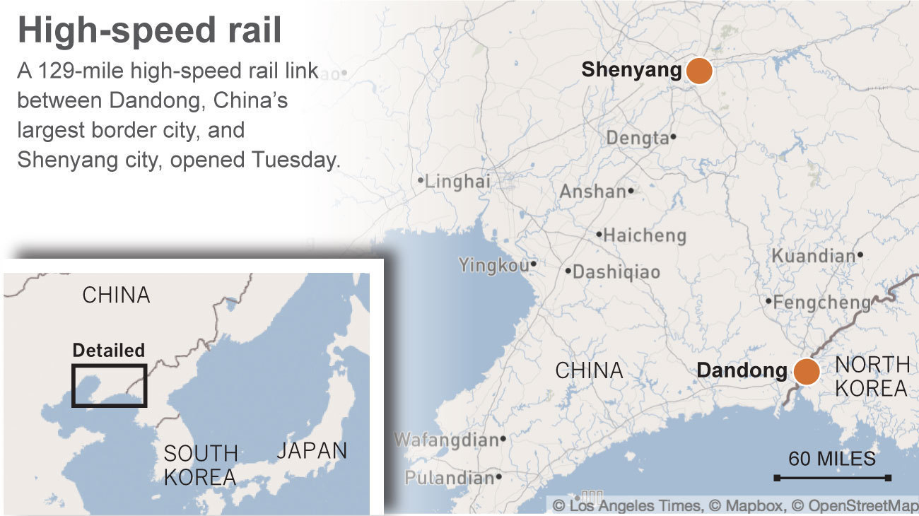 China unveils highspeed rail line to North Korean border  LA Times