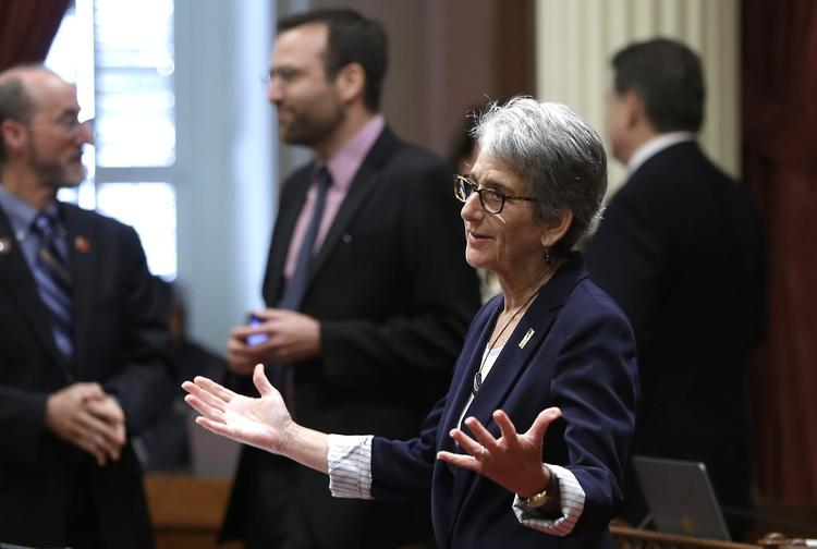 Sen. Hannah-Beth Jackson (D-Santa Barbara) expressed concern about cap-and-trade spending on Wednesday. (Rich Pedroncelli / Associated Press)