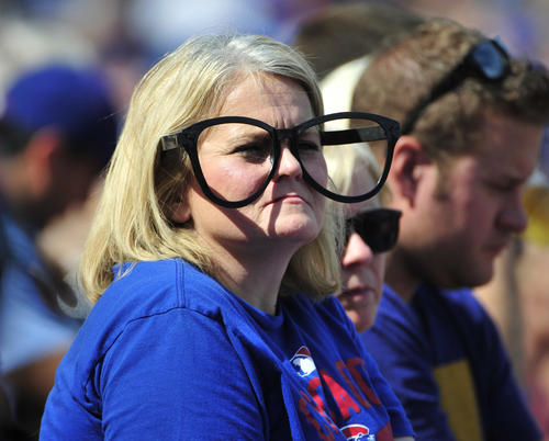 <p>A fan watches the game between the Cubs and the Braves during the first inning at Wrigley Field.</p>