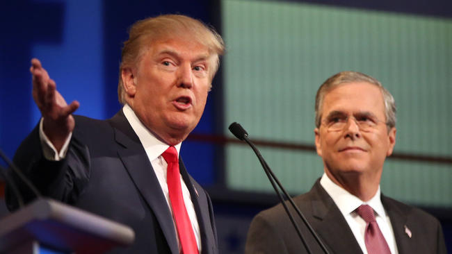 Republican presidential candidate Donald Trump and Jeb Bush during the first Republican presidential debate in Cleveland. (Andrew Harnik / Associated Press)
