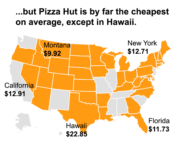 Map of average cost of Pizza Hut large pepperoni