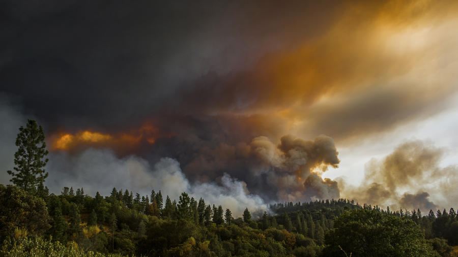 Smoke rises from a fire near Butte Mountain Road near Jackson, Calif., last week. (Andrew Seng / Associated Press)