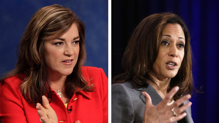 Rep. Loretta Sanchez, left, and California Atty. Gen. Kamala Harris. (Associated Press)
