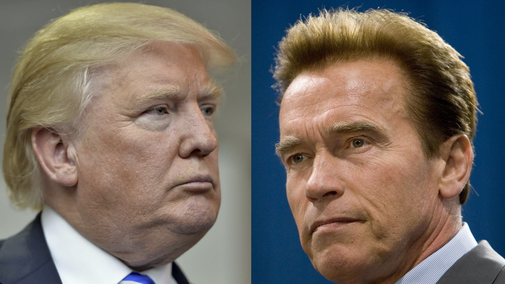 Arnold Schwarzenegger, right, has fired back at President Trump over his approval ratings. (Richard Shiro / Associated Press; Robert Durell / Los Angeles Times)