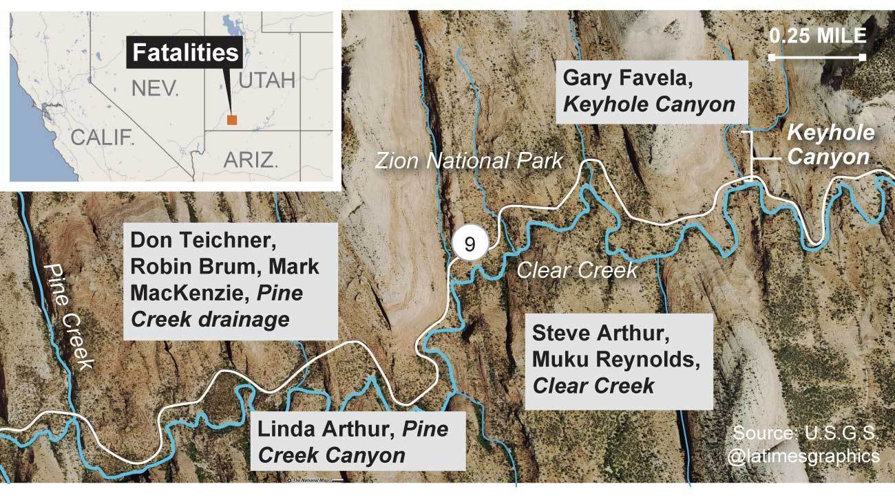 Seven Hikers Descent Into Doom At Zion National Park Los - Los angeles to utah map