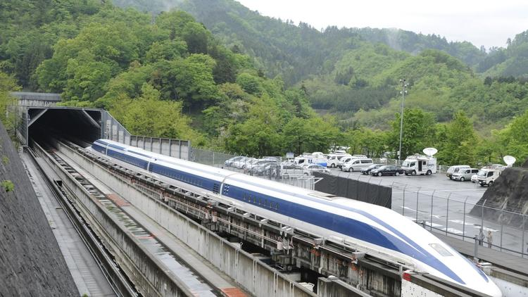A Maglev train on an experimental track outside Toyko.