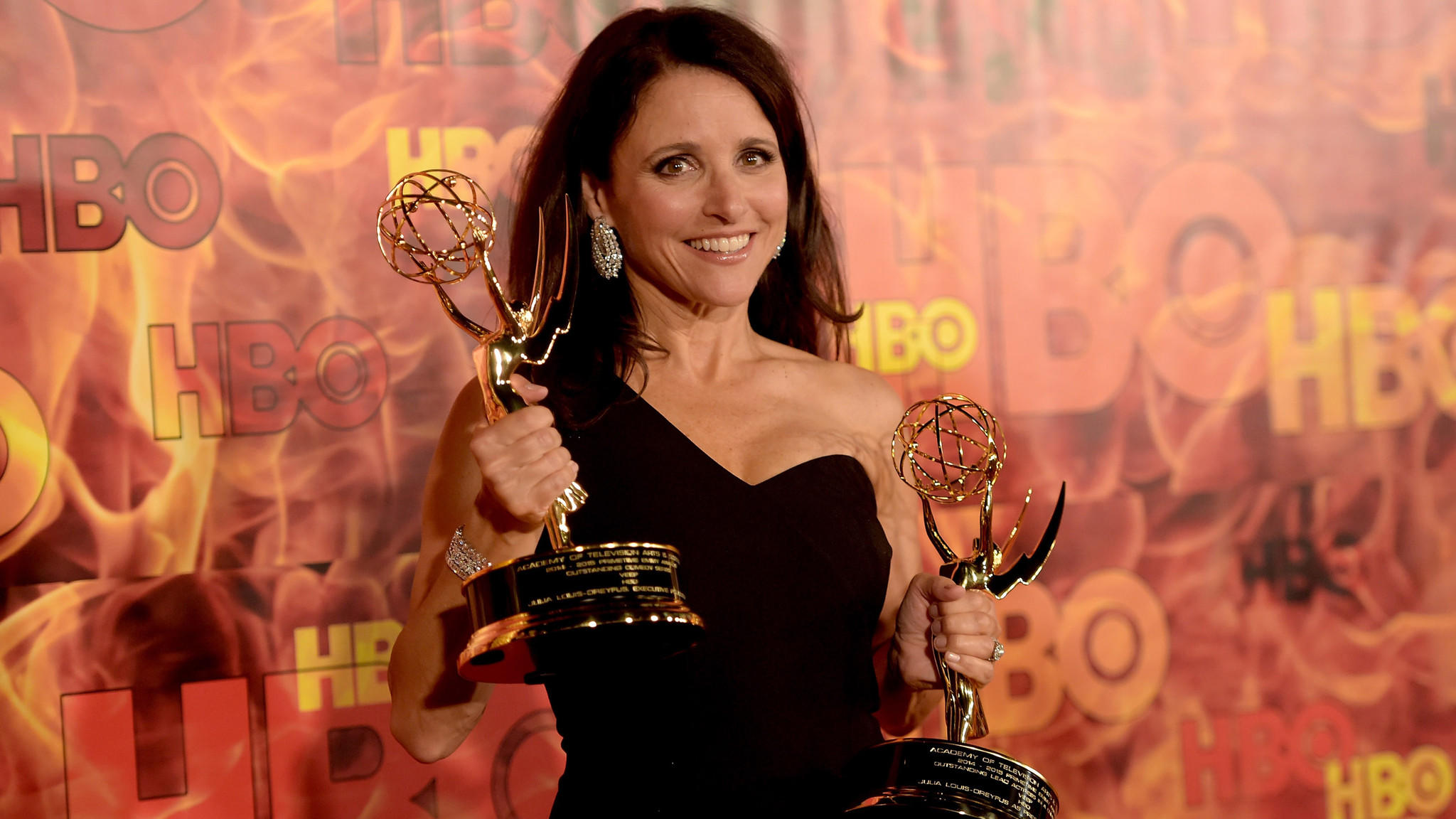 """Julia Louis-Dreyfus of of HBO's """"Veep"""" after last year's Emmys. (Jason Kempin / Getty Images)"""