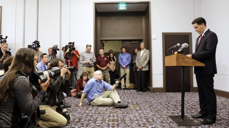 Wisconsin Gov. Scott Walker at the news conference in September where he announced suspension of his Republican presidential campaign. (Morry Gash / Associated Press)