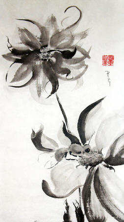 Three Dahlias One Bee Sumi-e by Patricia Larkin Green