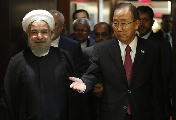 Iranian President Hassan Rouhani, left, with United Nations Secretary-General Ban Ki-moon in New York on Sept. 26, 2015. (Dominick Reuter / AFP/Getty Images)