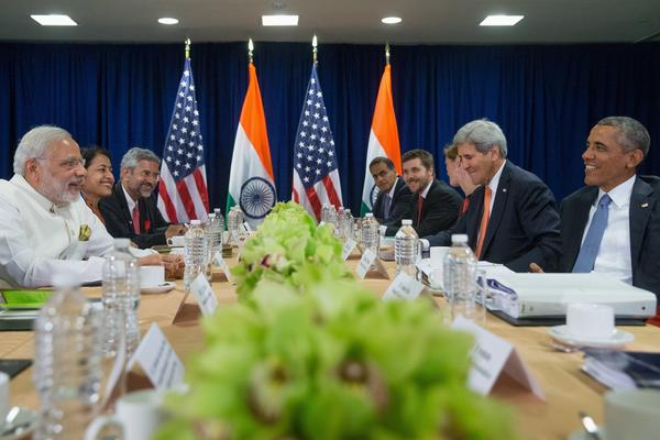 President Obama holds a bilateral meeting with Indian Prime Minister Narendra Modi, left, at the United Nations on Sept. 28, 2015. (Andrew Harnik / Associated Press)