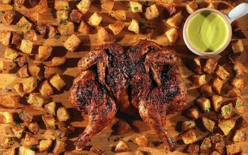 Peruvian-style roast chicken with spicy jalapeño sauce