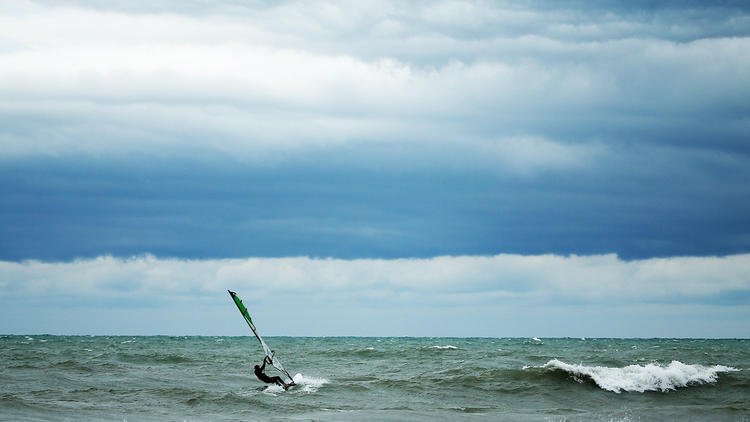 11-foot waves signal fall in Chicago, a windsurfer's favorite season