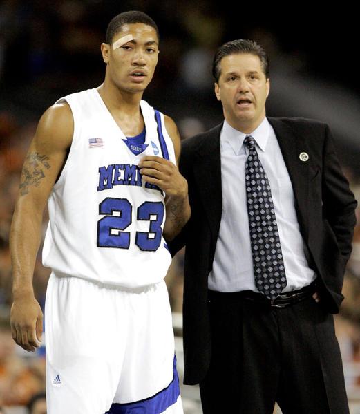 735684321f36 Memphis coach John Calipari talks with Derrick Rose during an NCAA  tournament game in 2008. (Associated Press)