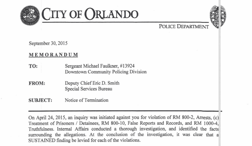 Termination letters for OPD officers Delio Faulkner Orlando – Termination Letters