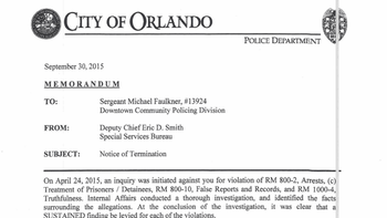 Termination letters for OPD officers Delio, Faulkner