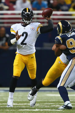 ST. LOUIS, MO - SEPTEMBER 27: Michael Vick #2 of the Pittsburgh Steelers passes against the St. Louis Rams in the fourth quarter at the Edward Jones Dome on September 27, 2015 in St. Louis, Missouri.  (Photo by Dilip Vishwanat/Getty Images) ORG XMIT: 567359973