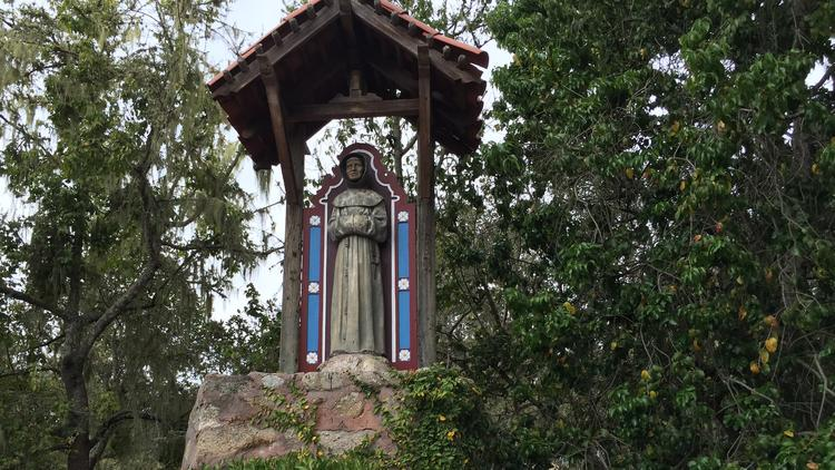 This statue of Father Junipero Serra, at the north end of Carmel-by-the-Sea, was vandalized Sept. 23, the day Serra was canonized in Washington, D.C., by Pope Francis. Someone poured black paint on the statue. A neighbor cleaned it.