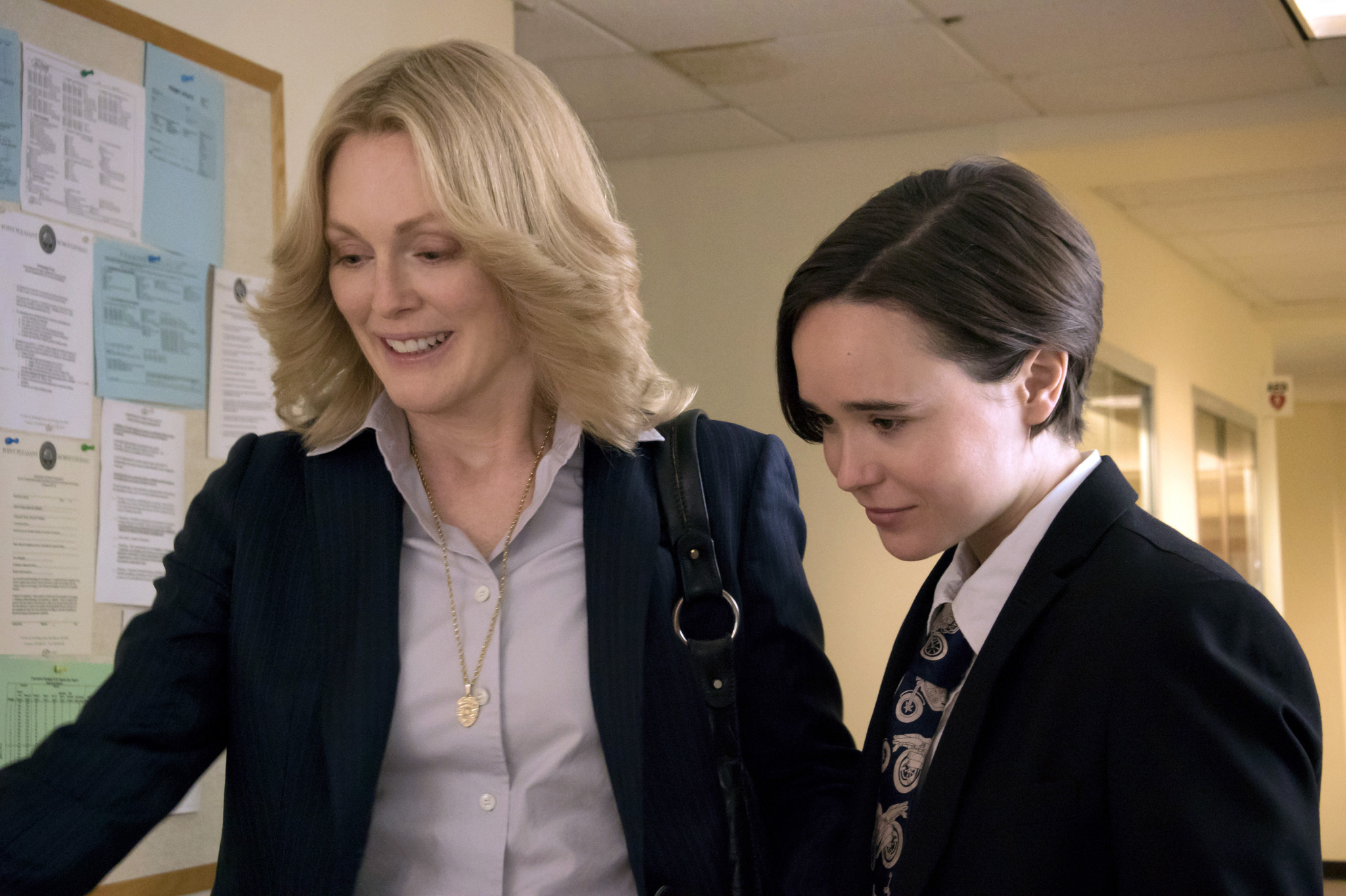 "Julianne Moore, left, and Ellen Page in a scene from ""Freeheld."""