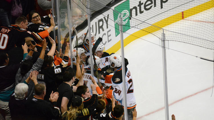 San Diego Gulls players and fans celebrate a goal during an exhibition game in October 2015. (Anaheim Ducks)