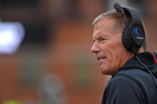 <p>Maryland coach Randy Edsall during the first quarter at Byrd Stadium.</p>