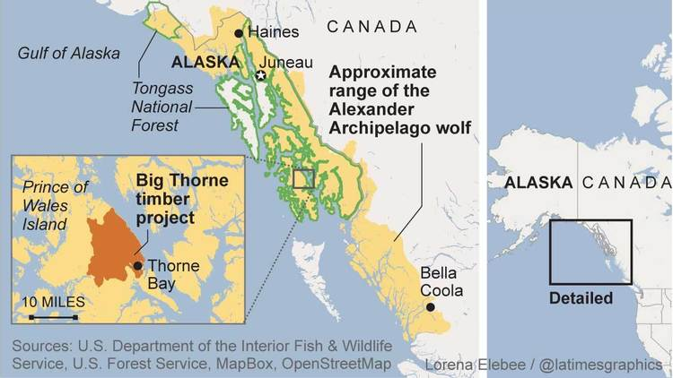 Range of the Alexander Archipelago wolf, Alaska