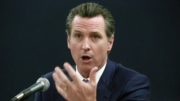 California Lt. Gov. Gavin Newsom, pictured at a forum in April, will announce a new ballot initiative to strengthen the state's gun laws, (Nick Ut / Associated Press)