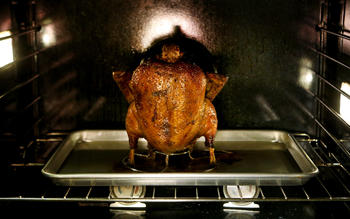 Vertically-roasted duck