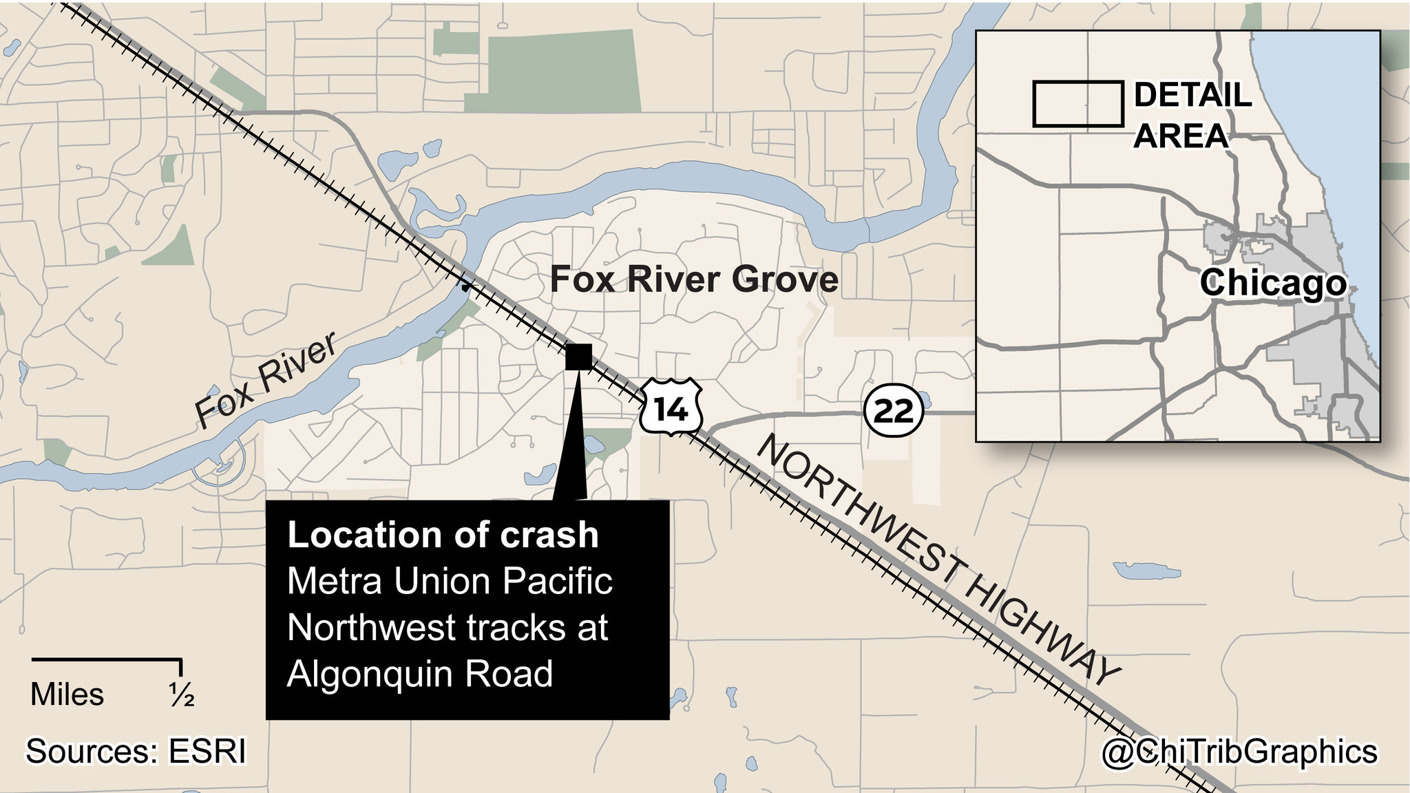 Map Location Of  Fox River Grove Crash Chicago Tribune - Chicago map river