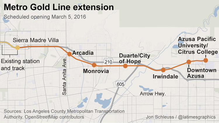 Gold Line extension will go to Azusa