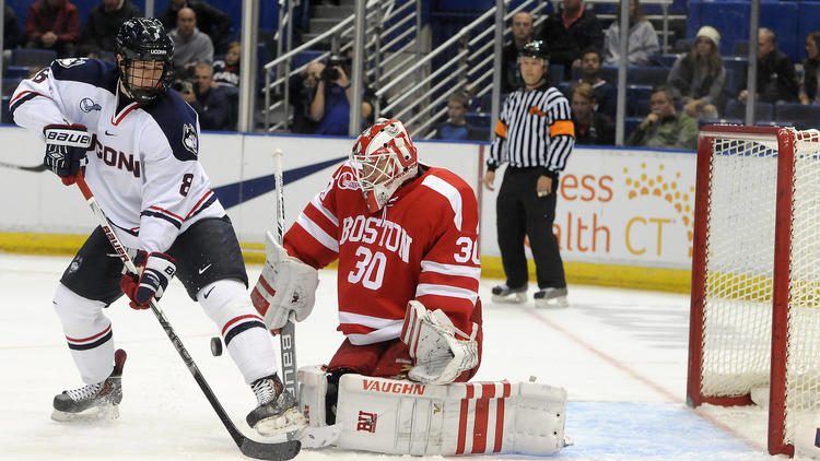 Hockey East: Thompson Hat Trick Lifts UConn Past BU