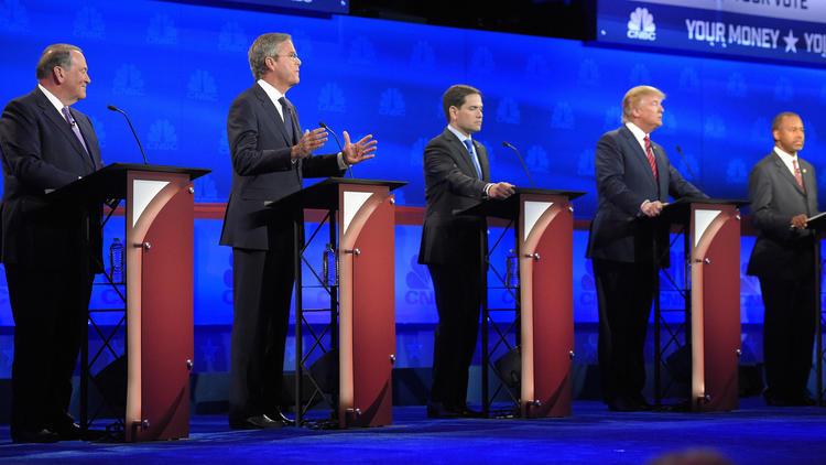 Mike Huckabee, from left, Jeb Bush, Marco Rubio, Donald Trump and Ben Carson during the CNBC Republican presidential debate in Boulder, Colo.  (Mark J. Terrill / AP)