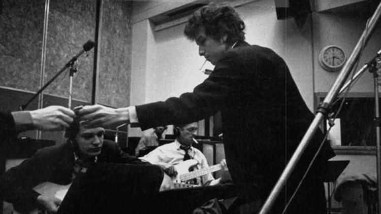 Bob Dylan in recording studio circa 1965-66