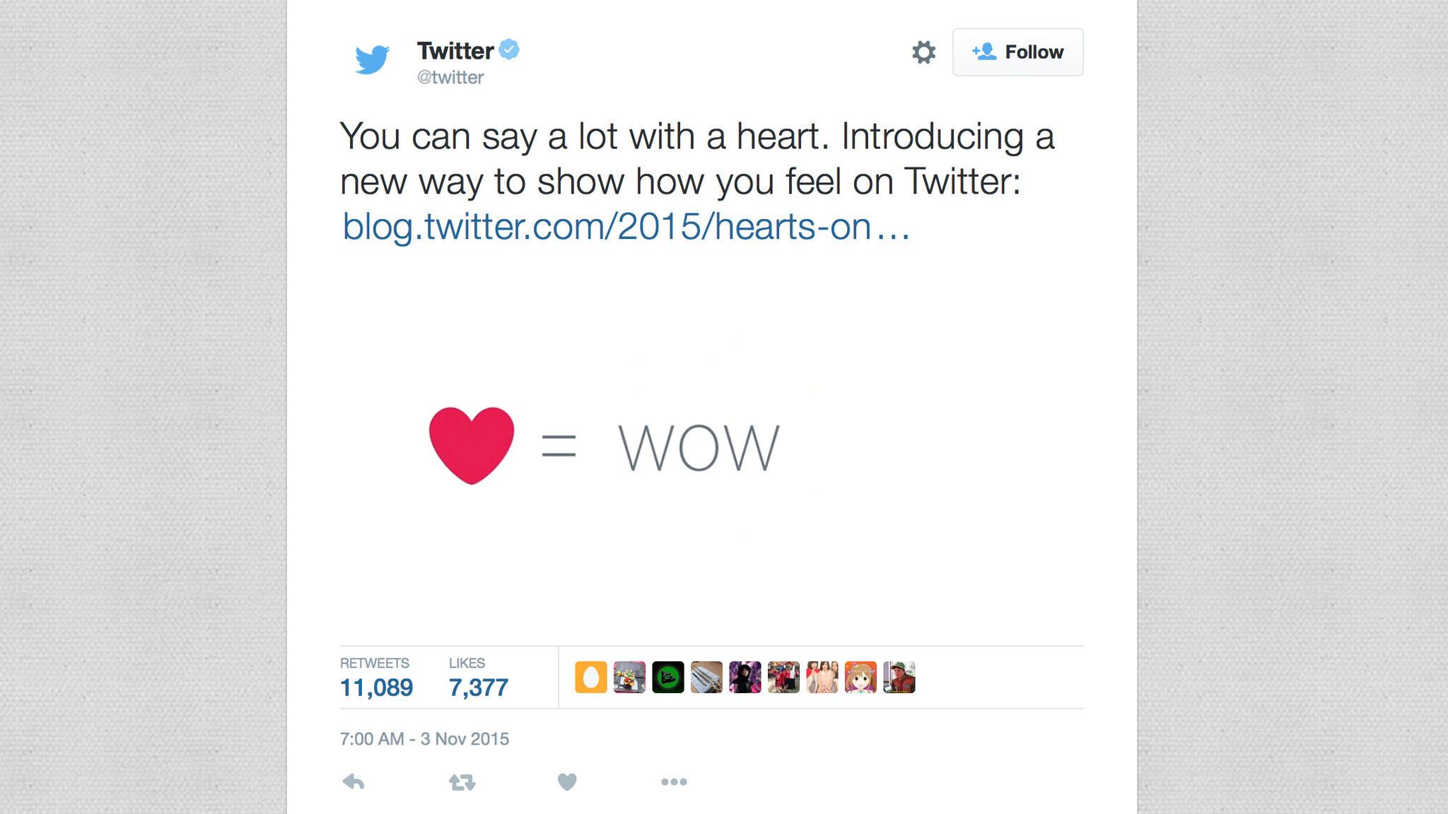 twitter new like button