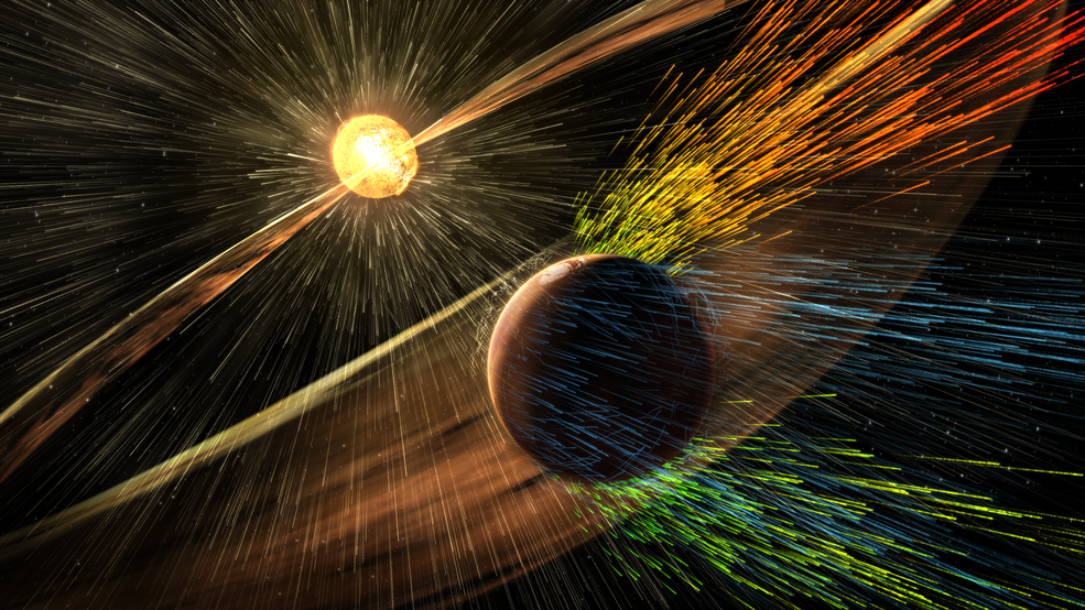 Solar storm winds stripping Mars atmosphere