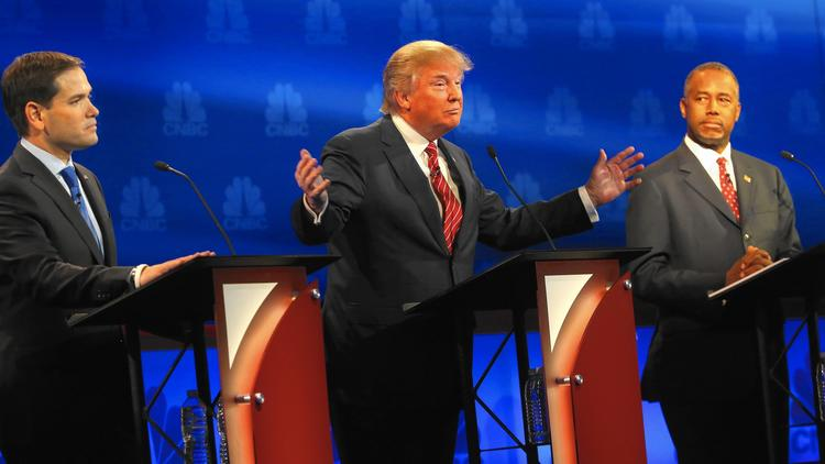 Republican candidates Marco Rubio, from left, Donald Trump and Ben Carson at last month's debate. Carson has climbed slightly past Trump in polls, and Rubio has firmly planted himself in the second tier of candidates. (Justin Sullivan / Getty Images)