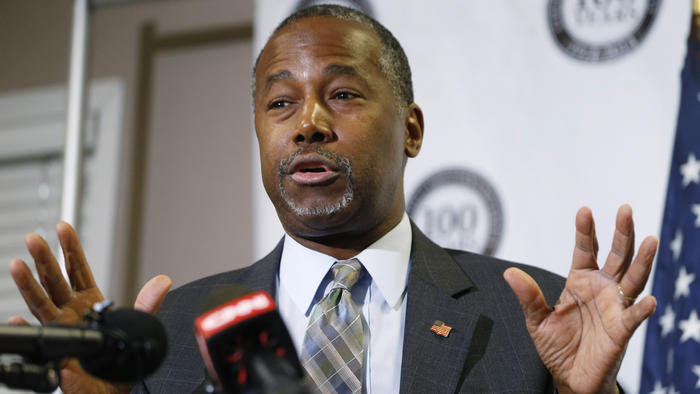 Republican presidential candidate Ben Carson speaks in Lakewood, Colo. on Oct. 29. (David Zalubowski / Associated Press)