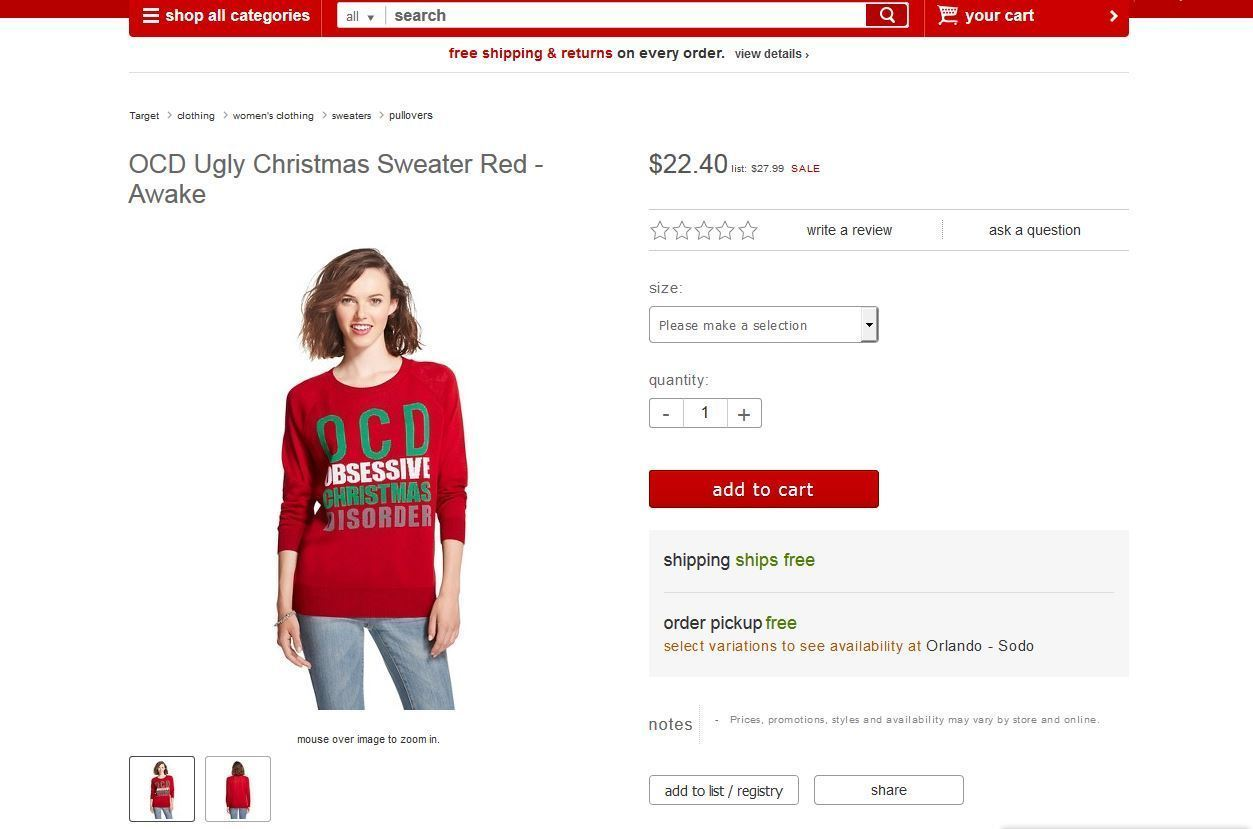 Target offends with \'OCD\' Christmas sweater - Orlando Sentinel