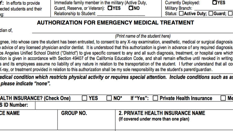 LAUSD emergency form