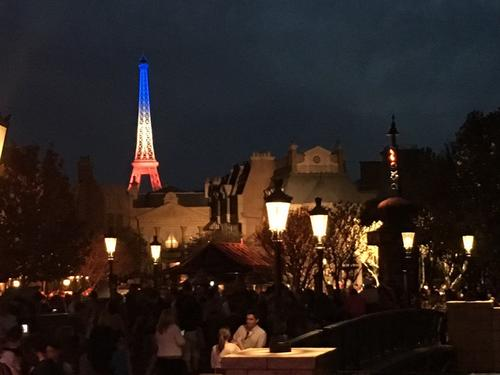 <p>Epcot lit the model Eiffel Tower in honor of the morethan 120 vicitims killed in a terror attack in Paris, France on November 14, 2015.</p>