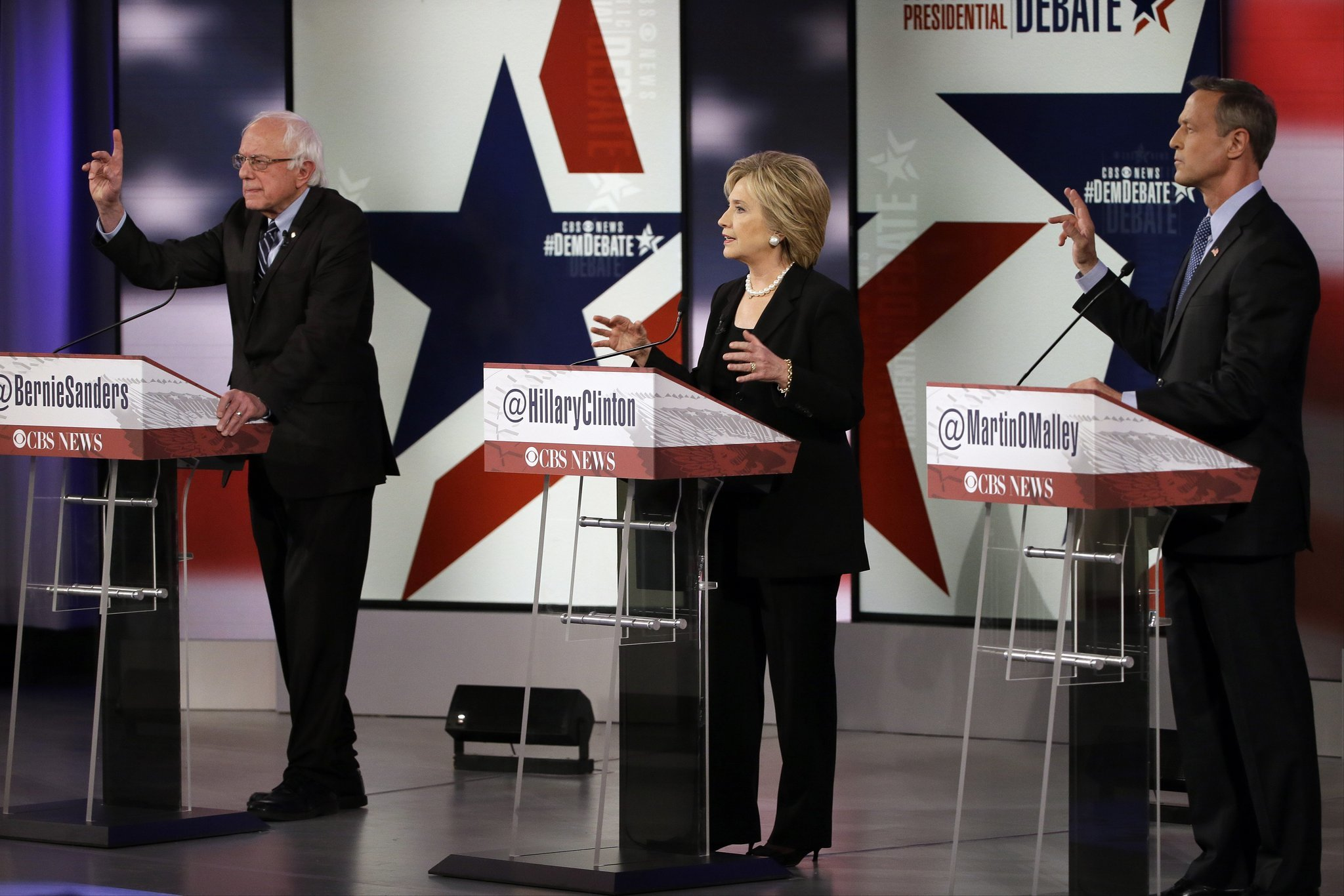 Bernie Sanders, Hillary Clinton and Martin O'Malley at a Democratic presidential debate in November. (Charlie Neibergall / Associated Press)