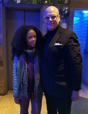 "<p>""Empire"" actress Serayah McNeill (left) at Jellyfish Nov. 13, 2015 with restaurant GM Bill Bell (right).</p>"