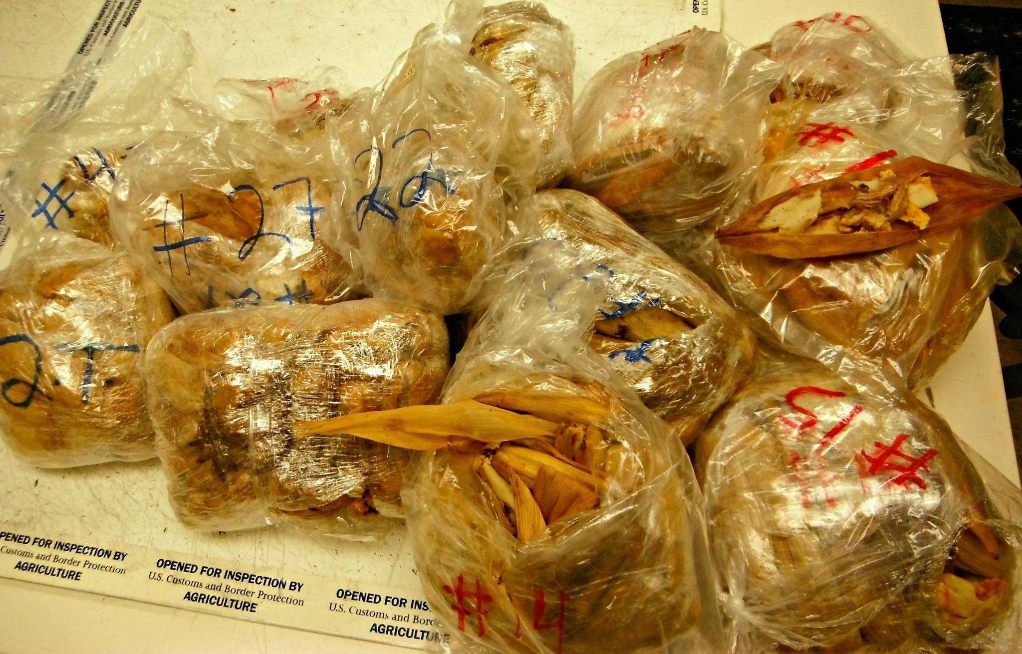 Pork Tamales that were seized by customas officials at LAX