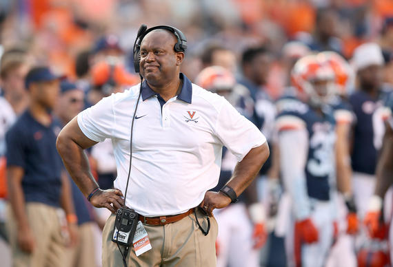 Virginia coach Mike London reacts to a call Saturday against William & Mary September 19, 2015 in Charlottesville.