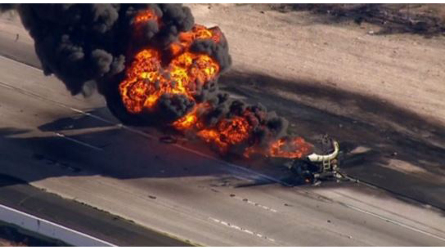 Tires Near Me Open Now >> Photos: Tanker truck carrying 8,700 gallons of gasoline burns on 15 Freeway - LA Times
