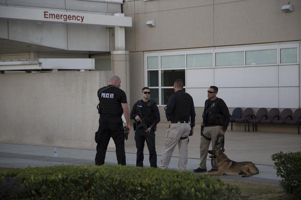 Police outside Arrowhead Regional Medical Center on Wednesday. (David McNew / Getty Images)