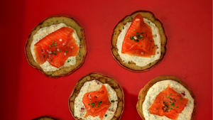 Lemon herb blini with dill cream and smoked salmon