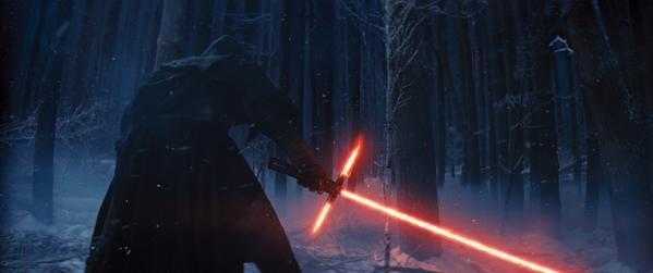 Adam Driver wields his lightsaber in